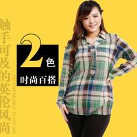 2014 autumn oversize women's shirt 100% cotton long-sleeve plaid tshirt fat female slim plus size overweight tops casual 2050