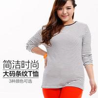 Autumn plus size clothing for fat girl horizontal stripe o-neck big size lady T-shirt long-sleeve cotton shirt big size 416