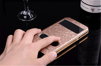 Luxury Diamond Pattern Plated Metal Flip Case For Samsung N7100 Galaxy Note2