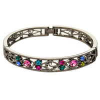 Neoglory European American Style Dream Circle Colored Oktant Rhinestone Hollow-out Bangle for Lady Free Shipping