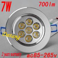 free shipping led downlight 7w  ac85-265v 7w led ceiling light,700lm 7*1w led light ,2years warranty 7 w led bulb