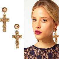 British big golden cross rivets exaggerated big earrings female jewelry essential nightclub party shipping over $ 10
