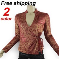 The Newest 2013 Autumn Women Retro Country Style Print V-neck Chiffon Shirt,Ladies Brand Casual Blouse Free Shipping