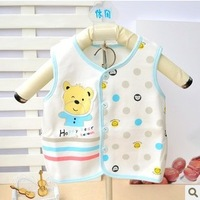 Glutinous rice collcction children's clothing autumn and winter dot open front vest thermal vest