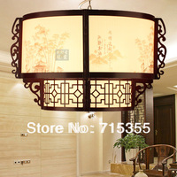 2014 promotion real freeshipping knob switch foyer yes chinese style pendant light wooden antique wool sheepskin lamp restaurant