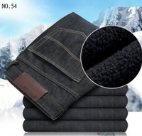 Hot Sale Brand Black Men Winter Jeans Thick Cashmere Fashion Style Man's Pants High Quality Cotton Winter Fashion Male Clothing