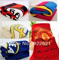 Free shipping football fan snow fox wool big blanket with big european clubs' team logo.football fan gifts/souvenirs