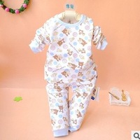 Glutinous rice children's clothing infant underwear set baby spring and autumn 100% cotton bear buckle underwear twinset