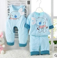 Glutinous rice infant spring and autumn bear suspenders thin wadded jacket piece set