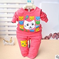 Glutinous rice children's clothing spring and autumn baby set cat candy color casual twinset elastic set