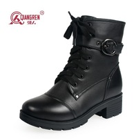 2013 new winter genuine leather wool boots Short  Martin boots warm wool military quality