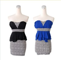 2013 new Argyle pattern Patchwork Stitching Belt Flouncing Sexy/Club Dresses Cocktail Prom Dress