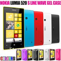 Free shipping High Quality Soft TPU Gel S line Skin Cover Case For Nokia Lumia 520 10pcs case+10pcs Protective film+10pcs pen