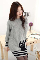 Fashion Autumn And Winter Women's Long-Sleeve Loose Cat Sweater