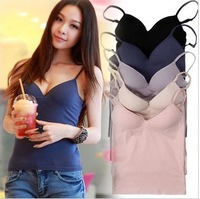 2014 new fashion women sexy underwear Basic women's modal wireless bra vest cup one-piece spaghetti strap belt pad Bra strap