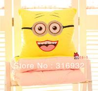 J2 Free shipping 2013 new 100cm*150cm soft toys minion plush pillow air-condition  blanket