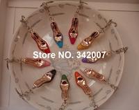 Free shipping random mixed color acrilico chaveiros fashion acrylic shoe keychain plenty of colors cheap keyring shoe high heel