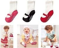 free shipping Baby cotton shoe sock Anti Slip children all-match ballet socks slip-resistant rubber