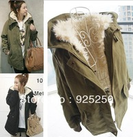 army green jacket women autumn winter 2013 military  hoodie outwear coat warm fleece lining long sleevee black  parka plus size