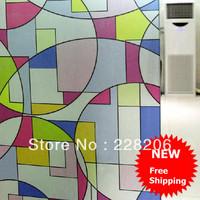 Free Shipping! Geometry colorful print window films 45*500cm