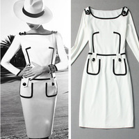 2013 Fashion  Autumn -Summer  dress women europe vintage high quality full sleeve cotton dresses L0540