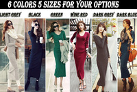 Woman Winter Dress Ladies Long Dress Maxi Dress Bodycon Tight Leisure Knitted Dress S M L XL XXL