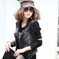 2014 New European and American Women's Motorcycle Jacket PU Leather Stitching Denim Jacket Trend