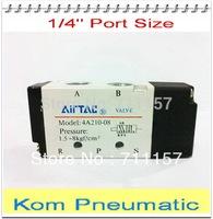 "5 Way G1/4 AirTAC Air Valve 4A210-08 5 Port Pneumatic Air Control Solenoid Valve Inlet Outlet 1/4"" BSPT , Exhaust 1/8"""