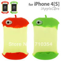 Free Shipping 5X Fashion NEW Arrival Bitten 3D style case silicon back cover with Cable Winder for iphone 4 4s