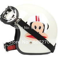 "E.128 3/4 Taiwan "" EVO "" Racing Helm Cycling Casque Open Face Casco Motorcycle ""Monkey"" White Beige Helmet & UV Goggles & Visor"