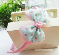 Free shipping kid's headwear  dot Hairbands cute baby butterfly knot head accessories min order 10usd