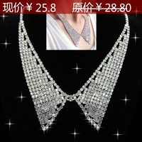 free shipping Fashion full rhinestone vintage peaked collar false collar necklace chain queen sparkling chain
