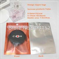 Color Zipper Packing Bags increase products value Clear CPP+matt orange alu foil 8.5x13cm 0.16mm 100pcs per lot promotion bags