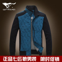 Septwolves men's clothing jacket 2013 male stand collar business casual outerwear slim male jacket