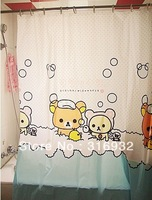 P2 Free shipping Rilakkuma bear waterproof thickening eco-friendly eva material bathroom shower curtain