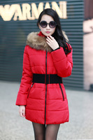 New arrival  Super Warm Long Oversize Down Coat with Fake Fur XL-4XL Overcoat 4Colors