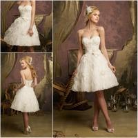 Free Shipping 2013 Charm New Ivory Ball Length Beaded Off The Shoulder Sleeveless Organza Short Wedding Dresses