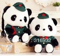 J1 Free shipping,  military panda lovers stuffed plush toy marriage wedding doll gift
