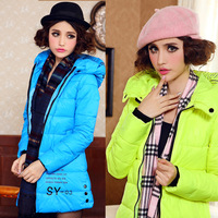 2013 Winter Women's Medium-Long Down Coat Female Slim Letter Print Outerwear with a Hood Down Cotton-Padded Jacket Free Shipping