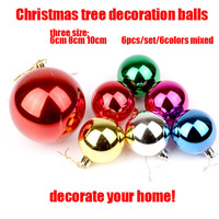 6pcs/lot=1sets 6colors mixed Christmas tree ornament decoration balls 6cm wedding party decoration free shipping!