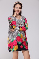 5XL 6XL Woman's Casual Print Dress Long Sleeve Women Autumn Long Sweater 2013 New Fashion Plus Large Big Size