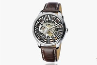 2013 vintage style famous brand luxury sport automatical mechanical men watches self wind black genuine leather strap