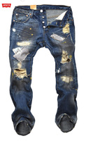 (CZ0187) 2013 Mens Beggar Trousers Brand Destroyed Hole Paint Stain Embroidery Jeans For Men Hip Hop Pants