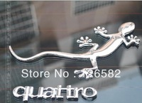 Free shipping 3D Gecko Shape Chrome Badge Emblem Decal Car Sticker