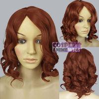 kanekalon Fiber  hair Black Widow Avengers Movie Cosplay Costume Copper Red Wavy Halloween Wigs