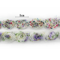 5 CM 3D Figured Cloth Fashion Rose Flower Trim Sewing Floral Bands 17pcs Flower ML0524