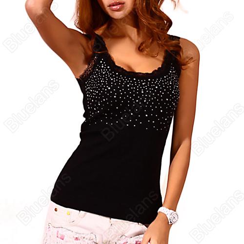 Women's Rhinestone Lace Stunning Based Sleeveless Vest Tank Top Tee T-Shirt Black White 1OJK(China (Mainland))