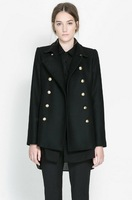 Elegant & Fashionable Lapel Long Sleeve Double-breasted Slim Coat----Black 2014Women cheap plus size winter coat