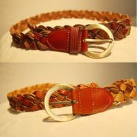 Knitted strap women's belt broken cowhide wax rope personalized women's belt