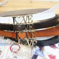 White women's strap genuine leather women's thin belt fashion all-match rhinestone ilovey